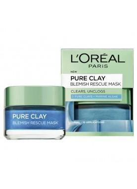لوريال قناع طين للوجة ازرق 50مل Loreal Paris pure clay blue blemish rescue mask 919